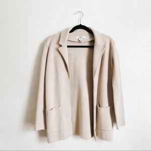 Magaschoni | Cream Wool Blend Open Front Jacket